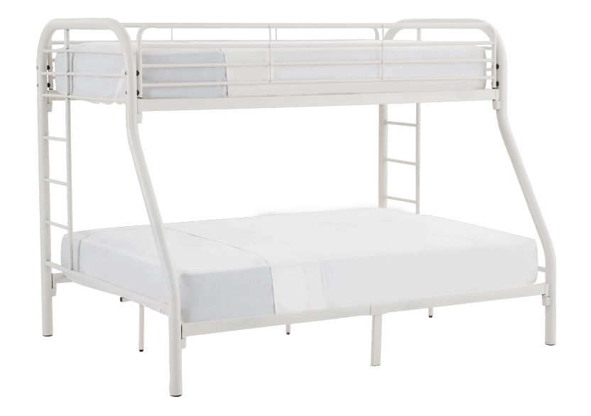 Metal Bunk Bed White Twin Full Size Economax