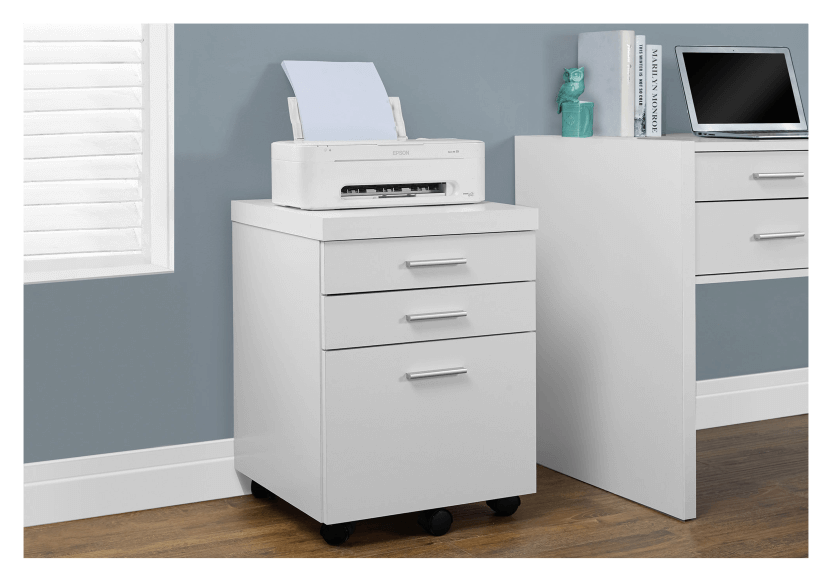 Filing Cabinet with Wheels - White and Black product photo other04 L