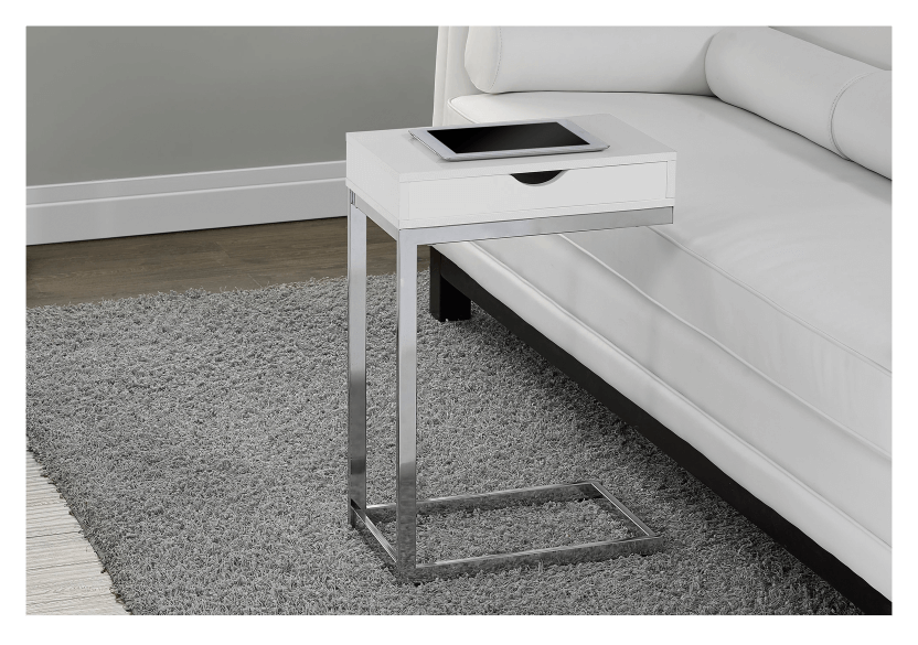 Side Table with Metal Legs - White and Silver Grey product photo other04 L
