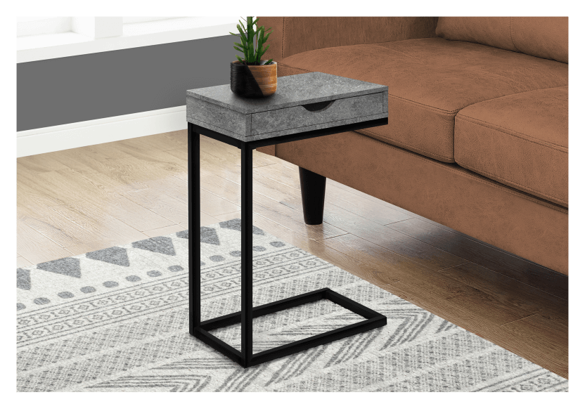 Side Table with Metal Legs - Grey and Black product photo other04 L