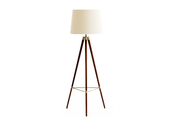 Wooden Floor Lamp with Beige Shade product photo
