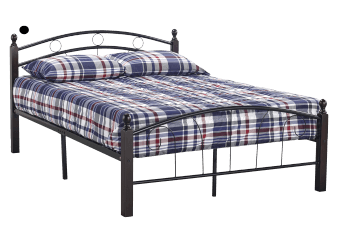 Metal and Wood Bed - Black Brown - Queen Size product photo