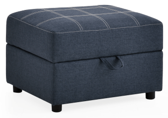 Fabric Storage Ottoman - Dark Blue product photo