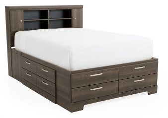 Bed with Drawers - Brown Grey - Queen Size product photo