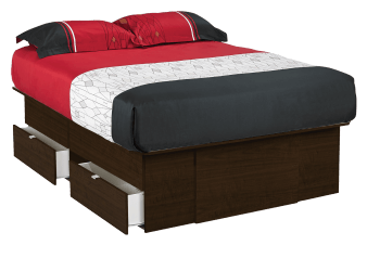 Platform Bed with Storage Drawers - Dark Brown - Queen Size product photo