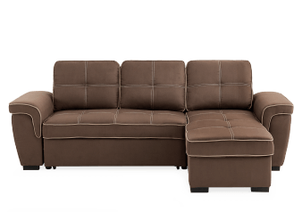 Fabric Sectional Sofa-Bed with Storage - Brown product photo