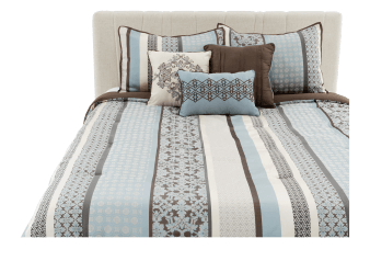 Comforter Set - Queen Size – Brown and Blue product photo