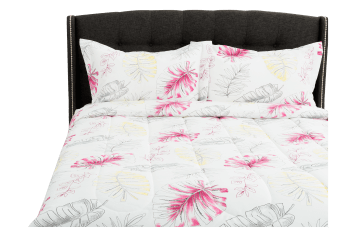 Comforter Set with Foliage - Queen Size - White product photo