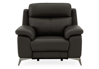 Reclining Motorized Armchair with Genuine Leather Seat - Grey product photo