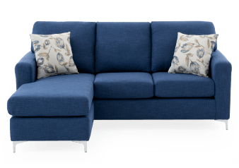 Fabric Reversible Sectional Sofa with Decorative Pillows - Blue product photo