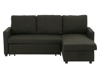 Linen Reversible Sectional Sofa-Bed - Dark Grey product photo
