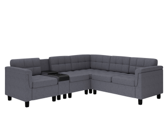 Reversible Fabric Sectional Sofa with Integrated Shelf - Dark Grey product photo