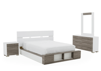 Bedroom Set - Grey and White - Queen Size product photo