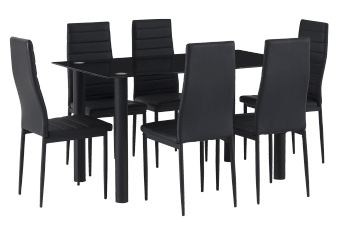 Metal Kitchen Set with Glass Top and Chairs - Black product photo
