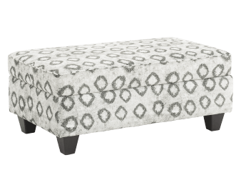 Fabric Storage Ottoman - White and Grey product photo
