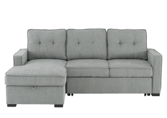 Fabric Sectional Sofa-Bed with Storage - Grey product photo