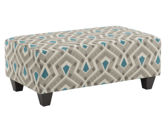 Fabric Ottoman - Beige and Blue product photo