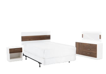Bedroom Set - White and Brown - Full/Queen Size product photo