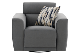 Fabric Swivel Armchair with Decorative Pillow - Grey product photo