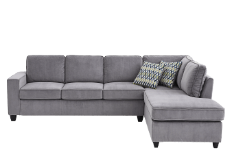 Reversible Fabric Sectional Sofa with Decorative Pillows - Grey product photo