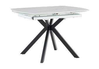 Oval Table with Metal Legs and Integrated Extension - White and Black product photo