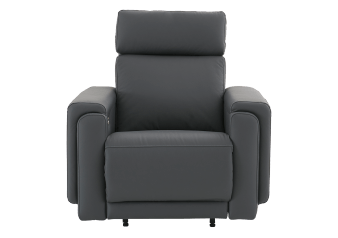 Elran Rocking Electric Leather Recliner with Adjustable Headrest - Dark Grey product photo