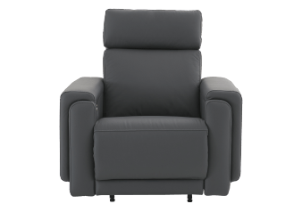 Elran Rocking Battery Motorized Leather Recliner with Adjustable Headrest - Dark Grey product photo