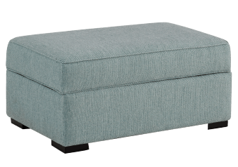 Blue Grey Upholstered Storage Ottoman product photo