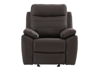 Rocking Recliner with Genuine Leather Seat - Brown product photo