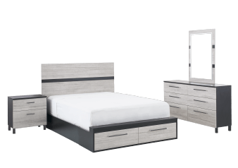 Bedroom Set - Black and White - Queen Size product photo