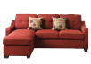 Fabric Reversible Sectional Sofa with Decorative Pillows - Red product photo