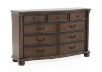 9 Drawer Pine Dresser - Dark Brown product photo Front View S