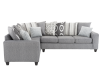 Fabric Sectional Sofa with Decorative Pillows - Grey product photo