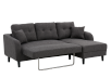 Fabric Sectional Sofa-Bed with Decorative Pillows - Grey product photo other02 S