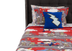 Comforter Set - Twin Size - Red, Grey and Blue product photo