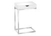 Side Table with Metal Legs - White and Silver Grey product photo