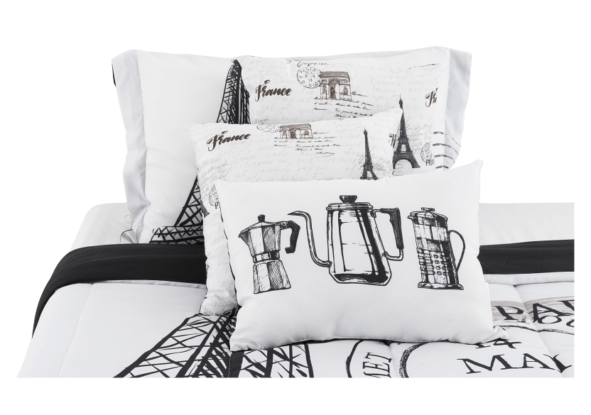 Ensemble de douillette noir et blanc - Grand lit Queen photo du produit other01 L