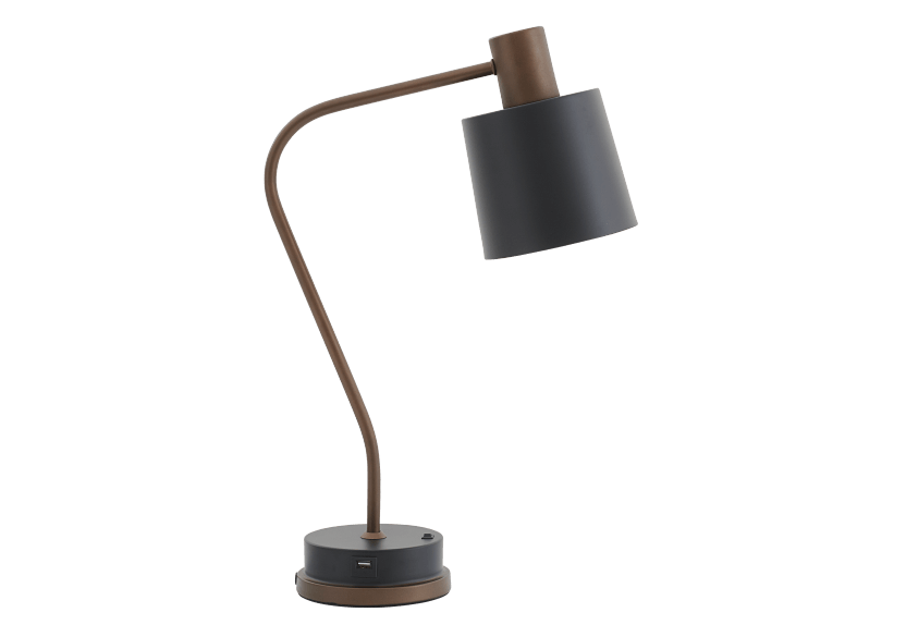 Lampe de table noire et bronze photo du produit Front View L